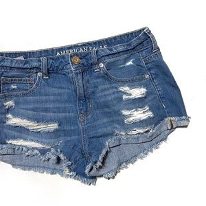 AE Ripped Distressed Jean Shorts • 2